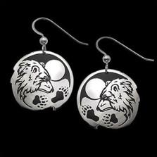 """Bear Sterling Silver Earrings """"Guardian""""   Nature Jewelry"""