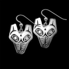 Wolf Tribal Sterling Silver Earrings   Nature Jewelry