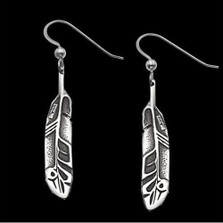 Eagle Feather Earrings Sterling Silver | Nature Jewelry