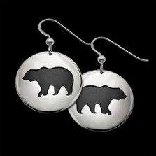 Bear Shadows Sterling Silver Earrings   Nature Jewelry