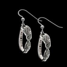 Wolf Sterling Silver Hoop Earrings   Nature Jewelry
