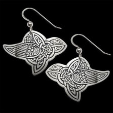 Celtic Bird Sterling Silver Earrings | Nature Jewelry