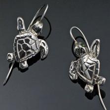 Baby Loggerhead Turtle Silver Wire Earrings | Nature Jewelry