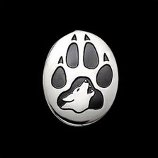 Wolf Print Sterling Silver Pendant Necklace   Nature Jewelry