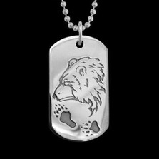 Guardian Bear Dog Tag Necklace   Nature Jewelry
