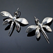 Dragonfly Sterling Silver Wire Earrings   Nature Jewelry