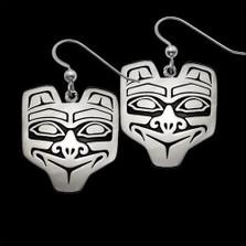 Haida Bear Sterling Silver Earrings   Nature Jewelry