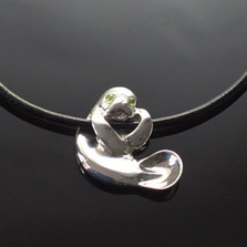 Hanging Manatee Silver Pendant Necklace | Nature Jewelry