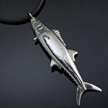 Kingfish Sterling Silver Pendant Necklace   Nature Jewelry