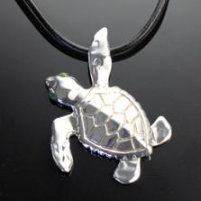 Loggerhead Turtle Silver Pendant Necklace | Nature Jewelry