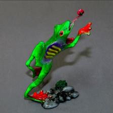 """Frog Bronze Sculpture """"Gotcha!"""""""