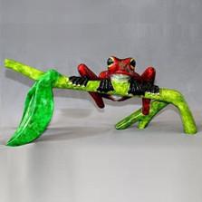 "Frog Bronze Sculpture ""Hang In There!"""