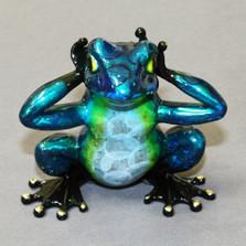 """Frog Bronze Sculpture """"Hear No Evil"""""""