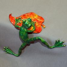"Frog Bronze Sculpture ""Living On The Edge"""