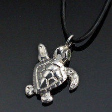Baby Loggerhead Silver Pendant Necklace   Nature Jewelry