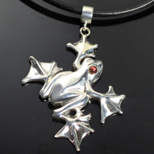 Flying Frog Sterling Silver Pendant Necklace | Nature Jewelry