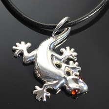 Gecko Sterling Silver Pendant Necklace  | Nature Jewelry