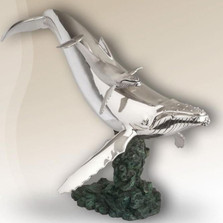 Whale Mother and Baby Silver Plated Sculpture  2512