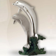Dolphin Pair Silver Plated Sculpture | 2527