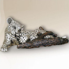 Leopard Chewing on Branch Silver Plated Sculpture | 3008