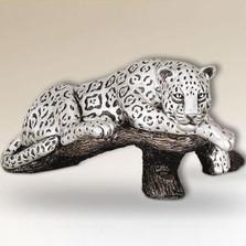 Jaguar on Branch Silver Plated Sculpture | 8018