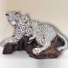 Leopard Family Silver Plated Sculpture | 8029