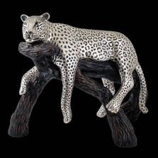 Leopard Lounging Silver Plated Sculpture | 8031