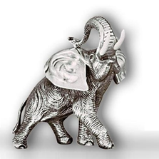 Elephant Silver Plated Head Up Sculpture | A40