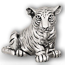 Tiger Cub Sitting Silver Plated Sculpture | A50