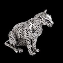 Leopard Silver Plated Sculpture | A500