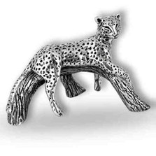 Leopard on Branch Silver Plated Sculpture | A507