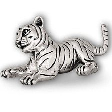 Tiger Cub Playing Silver Plated Sculpture | A51
