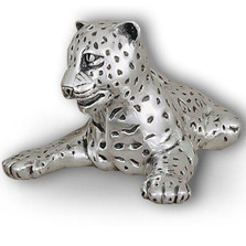 Leopard Reclining Silver Plated Sculpture | A63