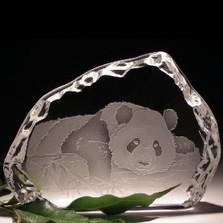 Panda Crystal Ice Block Sculpture | Evergreen Crystal | ECIpandaice
