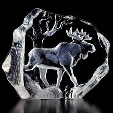 Bull Moose Crystal Sculpture | 33566