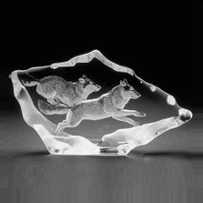 Wolf Pair Crystal Sculpture | 33599
