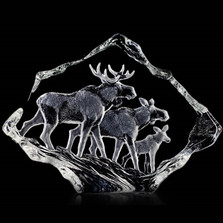 Moose Family Crystal Sculpture | 33636