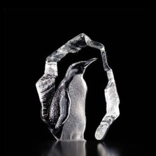 Penguin Crystal Art Glass Sculpture   33845