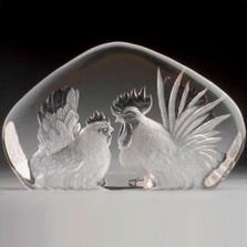 Rooster & Hen Crystal Sculpture | 33860 | Mats Jonasson Maleras