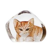 Brown Cat Crystal Sculpture | 33868 | Mats Jonasson Maleras