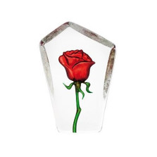 Tall Red Rose Crystal Sculpture | 33871