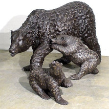 Bear Family Bronze Outdoor Statue