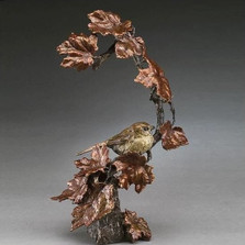 "Bird on Branch Bronze Sculpture ""Autumn's Return"""