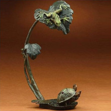 "Bronze Frog and Turtle Sculpture ""Creature Comforts"""
