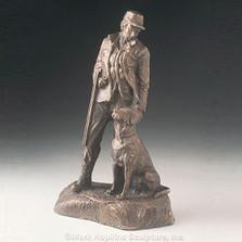 "Bronze Hunting Dog and Man Sculpture ""Sunrise"""
