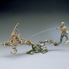 """Fisherman Bronze Sculpture """"Fast and Shallow """""""
