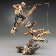 "Fisherman Bronze Sculpture ""Deep Pockets"""