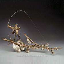 "Fisherman Bronze Sculpture ""Setting the Hook"""