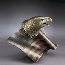 "Bronze Eagle with Flag Sculpture ""Justice for All"""