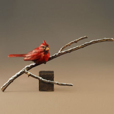 "Bronze Cardinal Sculpture ""First Snow"""
